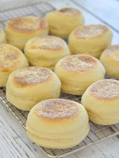 Homemade English Muffins on cooling rack