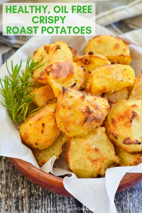 Golden Crispy Roasted Potatoes without a single drop of oil. Easy, healthy, low calorie and virtually fat-free! #roastpotatoes #roastedpotatoes #oilfree #healthyrecipe #potatoes #healthyrecipe