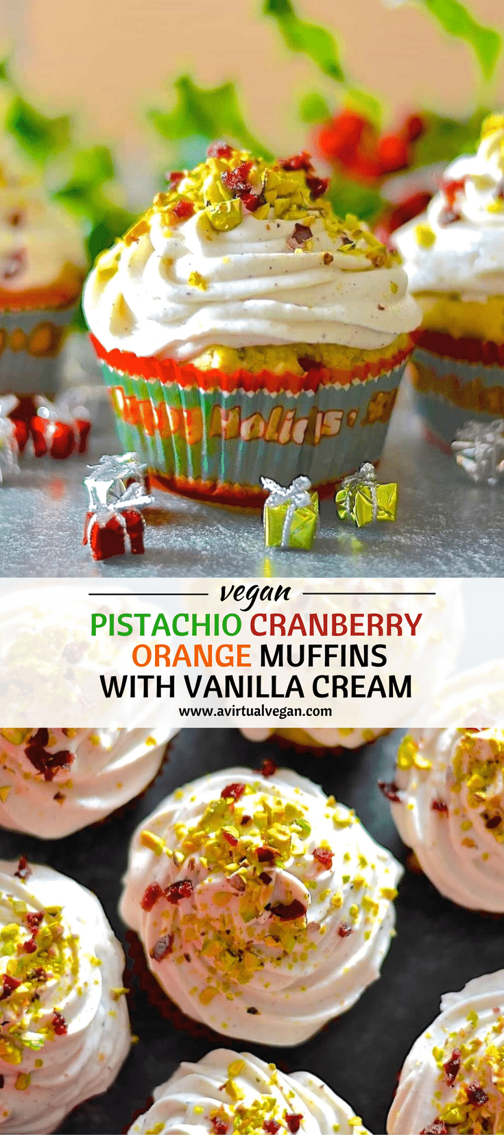 Festive, fragrant & delicious cranberry orange & pistachio muffins! Orange scented, studded with juicy, jewel red cranberries & crunchy, vibrantly green pistachios & finished with a swirl of vanilla cream.