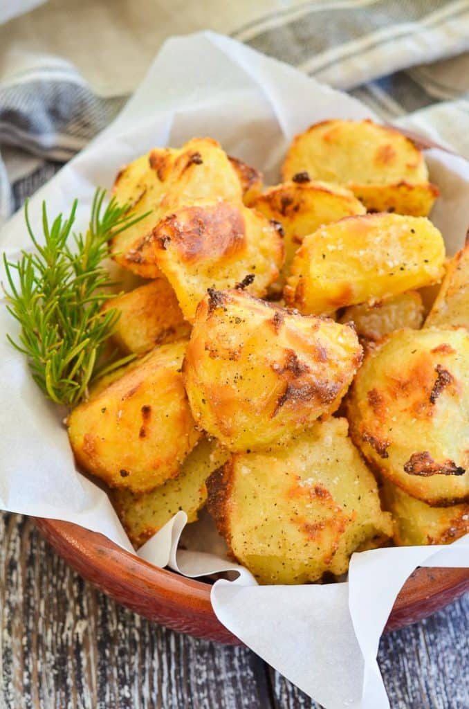 Crispy Roasted Potatoes in terracotta bowl