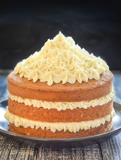 Layered Earl Grey Vegan Cake with swirls of lemon frosting