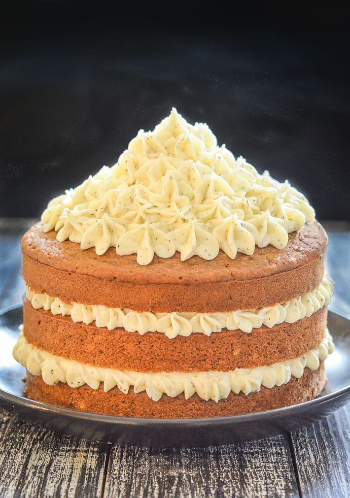 Layered Earl Grey Vegan Cake With Swirls Of Lemon Frosting