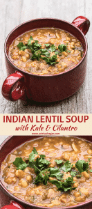 Super cozy, easy to prepare, Indian Lentil Soup with Kale & Cilantro. Packed with nutrition & perfectly spiced for maximum flavour!
