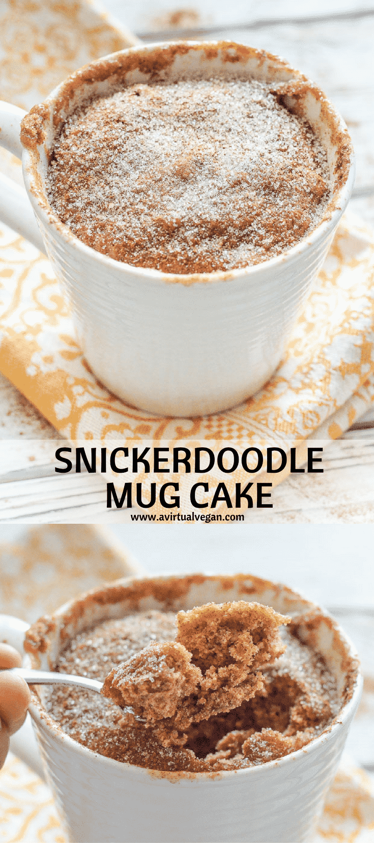 Have dessert ready in minutes with my super quick & easy Snickerdoodle Mug Cake. It's soft, fluffy & cinnamon-y & perfect for when you want something sweet without making a full-blown dessert!  #mugcake #cinnamon #snickerdoodle #vegan