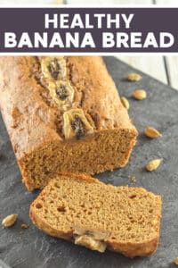 Simple & delicious Healthy Banana Bread. Whole-grain, oil-free & perfect for breakfast or snacking!