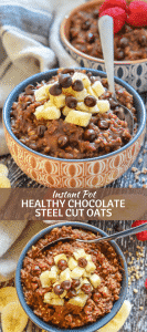 Satisfying & nourishing Healthy Chocolate Instant Pot Steel Cut Oats. Quick to make, simple & naturally sweetened with banana only. There is no added sugar at all! Just perfect for a hearty breakfast. And if you don't have an Instant Pot you can make them on the stove-top instead!