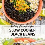 Slow Cooker Black Beans. Hearty, budget friendly, comfort food at it's best! Cook on the stove top or in a slow cooker for a really easy & tasty meal.