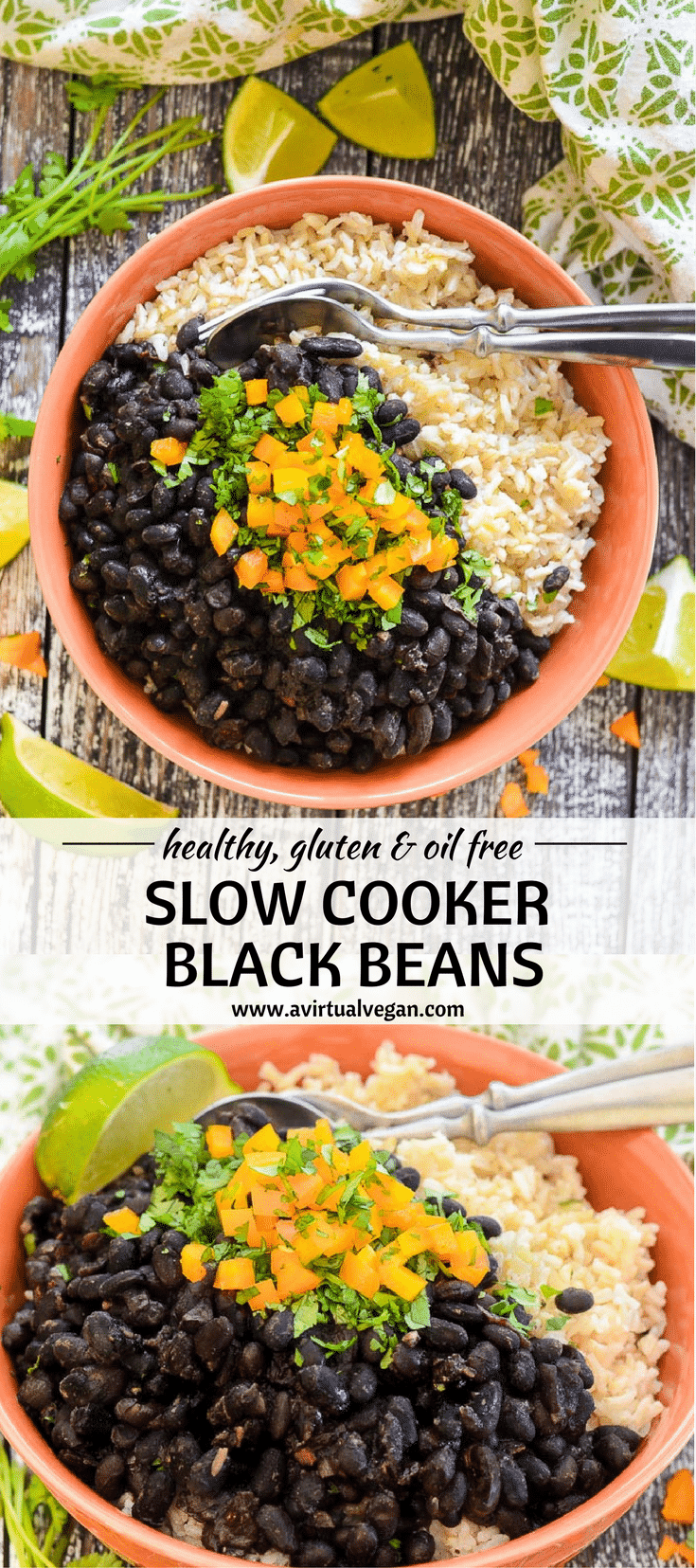 Slow Cooker Black Beans. Hearty, budget friendly, comfort food at it's best! Cook on the stove top or in a slow cooker for a really easy & tasty meal. #blackbeans #slowcooker #crockpot #beans