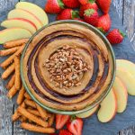 Snickerdoodle Dessert Hummus from above, surrounded with fruit and pretzels for dipping