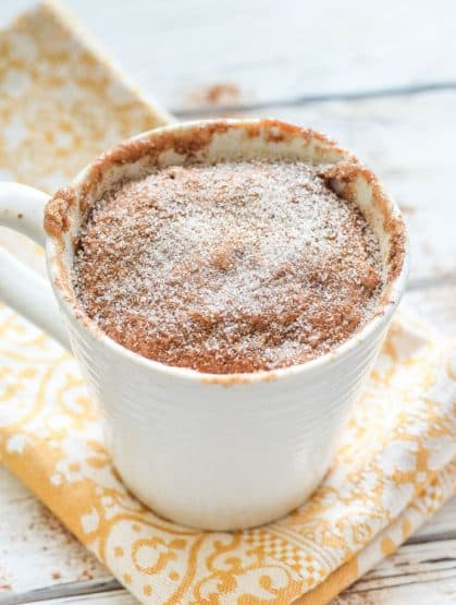Snickerdoodle Mug Cake sprinkled with sugar and cinnamon