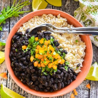 Spicy Slow Cooker Black Beans in a dish with rice from above