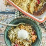 It's hard to beat a good crumble, and this Cranberry Apple Pear Vegan Crumble is really something special! We're talking tart cranberries & Granny Smith apples,  sweet, soft pear & a crumbly, nutty, buttery topping, all baked to golden perfection. It's an absolute crowd pleaser & so easy to make!