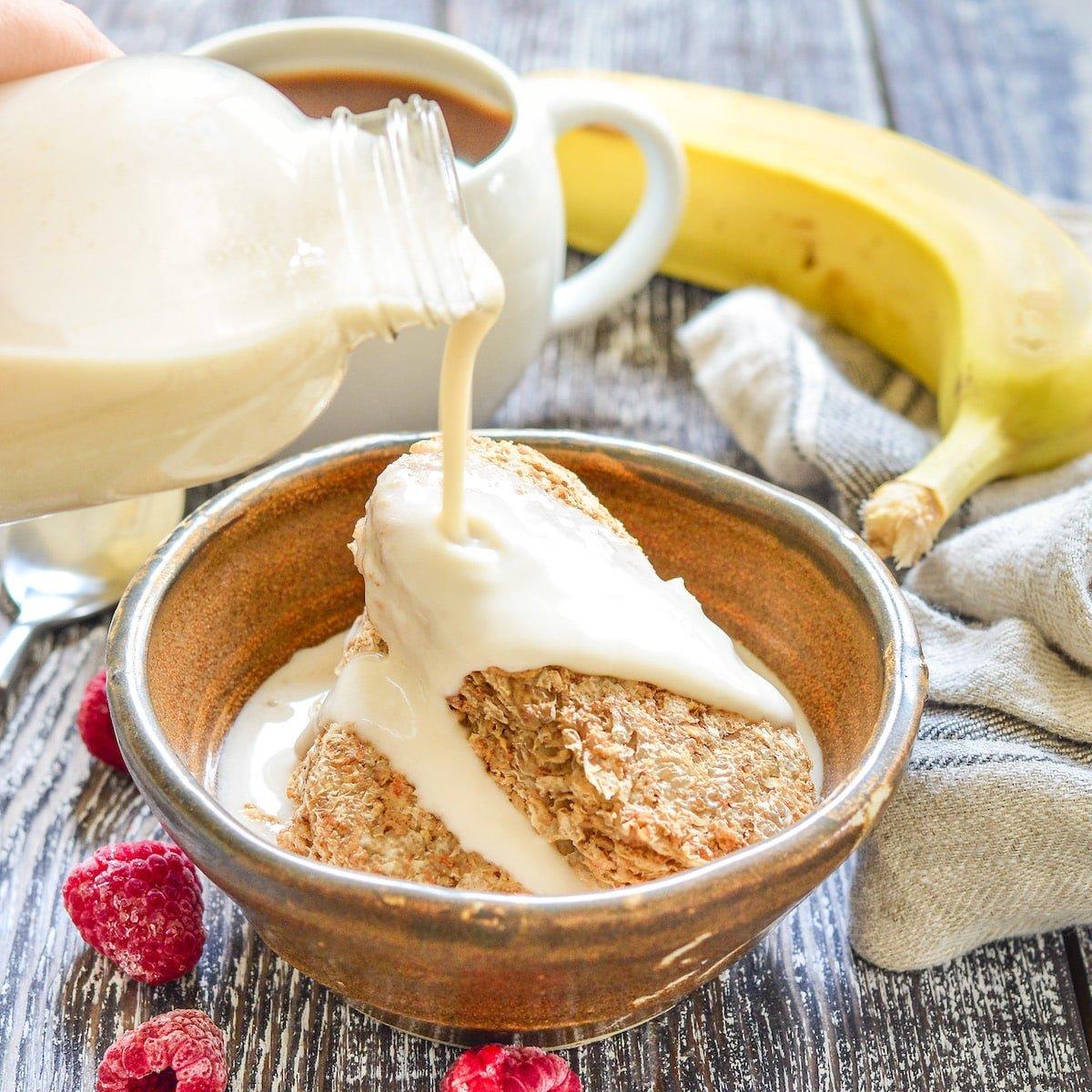 oat milk pouring