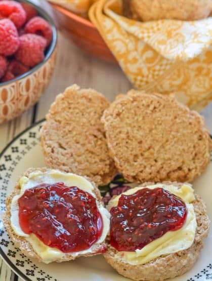 Healthy Vegan Biscuits with Almonds split, with butter and jam