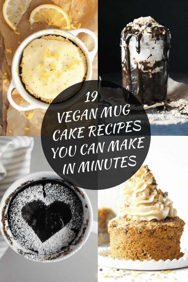 19 amazing and very decadent vegan mug cake recipes just waiting to be made by you! All vegan and most are ready in 1 minute or under. Zero to dessert in 60 seconds has got to be a good thing!  #vegan #mugcake #mugcakes #veganmugcake #microwave
