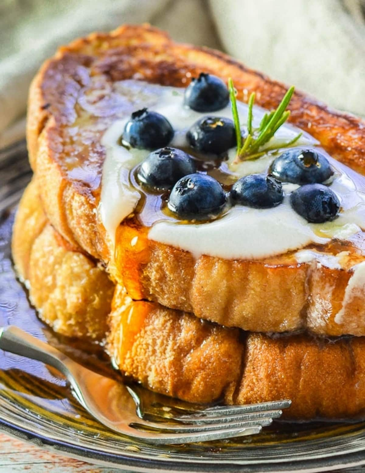 a close up of a pile of French Toast