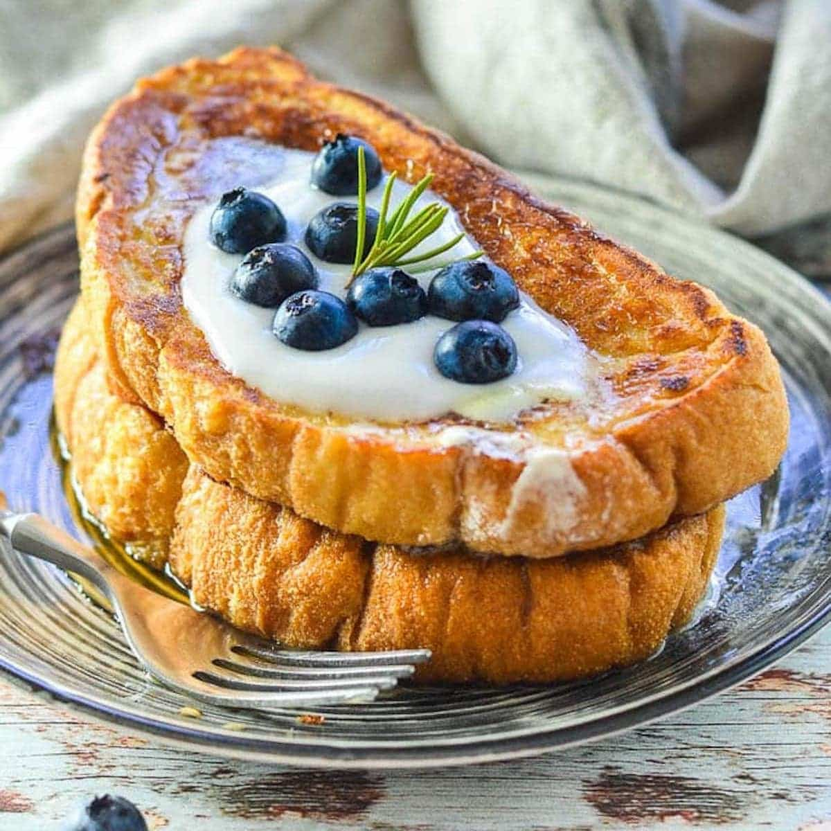 a stack of vegan french toast