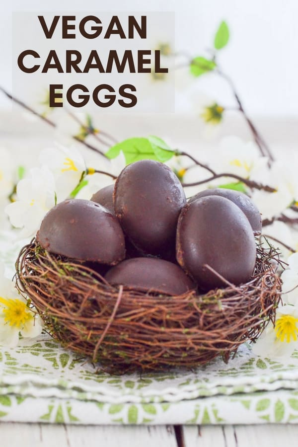 Easy Vegan Caramel Eggs with magical, refined sugar free insides.  Yes, it's caramel, yes it's yummy, but it's actually made from dates! So if you are watching your refined sugar intake you can  have your cake egg and eat it.... #easter #easteregg @caramel #caramelegg #vegan #veganeaster #chocolate