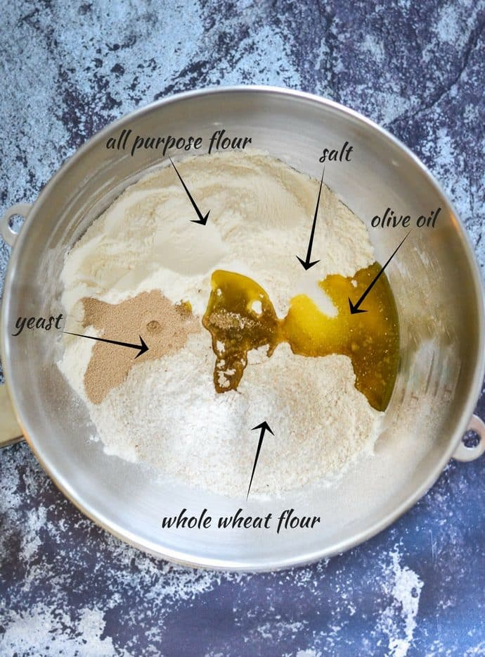 easy whole wheat bread ingredients in a bowl with labels pointing out one out