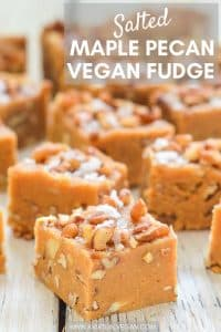 The easiest, 4 ingredient, fool-proof, rich, sweet, melt-in-your-mouth Salted Maple Pecan Vegan Fudge. Punctuated with crunchy pecan pieces and a smattering of sea salt crystals, it's like salty, sweet perfection!