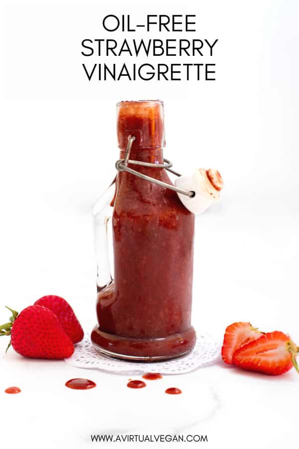 A really simple and super tasty, completely oil-free Strawberry Vinaigrette. The flavour is amazing - Such a lovely balance of sweet & tangy. It's ready in only a couple of minutes & perfect when drizzled over freshleafy greens! #vinaigrette #saladdressing #oilfree #wholefood #healthy #strawberry #strawberries #vegan