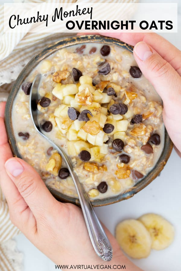 Overnight Oats Chunky Monkey Style! We're talking banana, nuts, chocolate & creamy oatmeal, because everyone deserves to wake up to that combo! There is no cooking involved at all. Make up a batch in minutes, store them in the fridge & they are perfect for quick, healthy breakfasts on the go! #overnightoats #oatmeal #overnightoatmeal #chunkymonkey #vegan #banana #breakfast