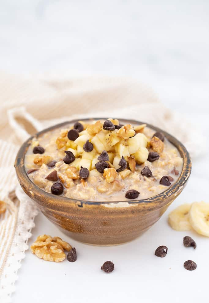Chunky Monkey Overnight Oats in a bowl