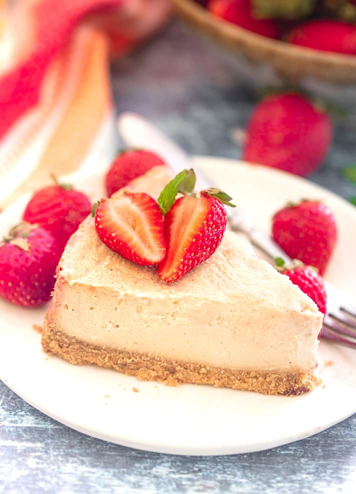 a slice of baked Vegan New York Cheesecake