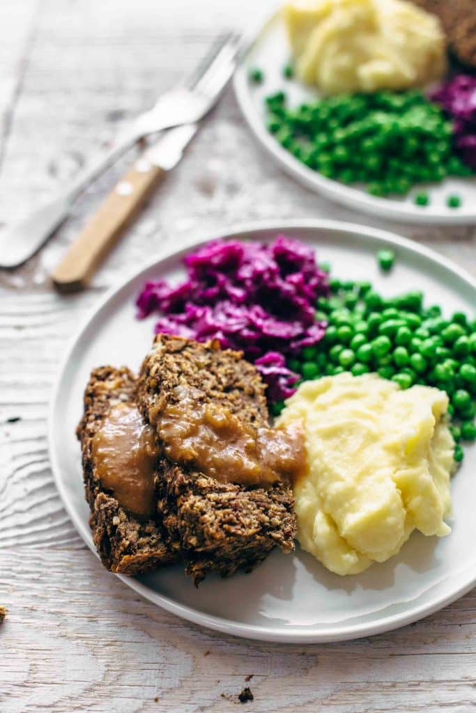 vegan meatloaf with gravy on a plate