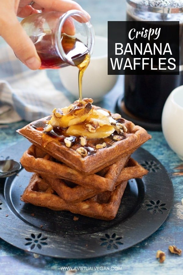 Toasty, golden, crunchy Banana Waffles are in your breakfasting future and they couldn't be simpler to make because you can whip the batter up in your blender! #waffles #bananawaffles #breakfast #vegan #veganbreakfast