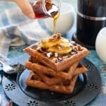 Toasty, golden, crunchy Banana Waffles are in your breakfasting future and they couldn't be simpler to make because you can whip the batter up in your blender!