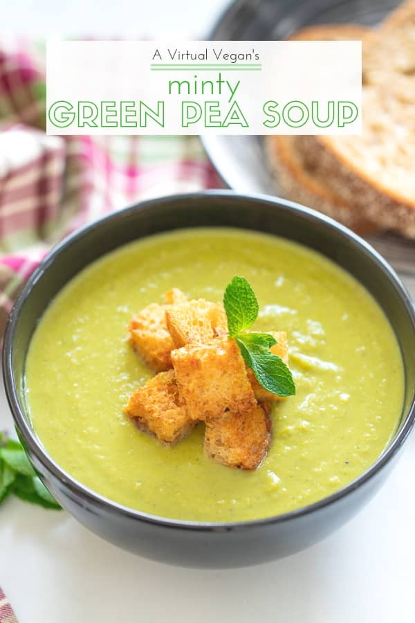 A bowl of brilliant green goodness to warm your soul! This Green Pea Soup with a generous handful of mint for good measure, is healthy, low calorie, packed with protein and super simple to make. With only 6 ingredients (plus salt & pepper) you probably already have everything you need to make it too! #peasoup #soup #vegan #mint #peamintsoup