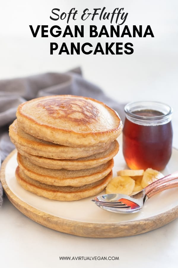 Hands down THE best Vegan Banana Pancakes. They are soft, fluffy, super delicious and so simple to make, from scratch, in a blender. This is an essential, keep handy in your back pocket, recipe that everyone needs for an easy, yet decadent breakfast!#pancakes #veganpancakes #bananapancakes #veganbananapancakes #breakfast #veganbreakfast