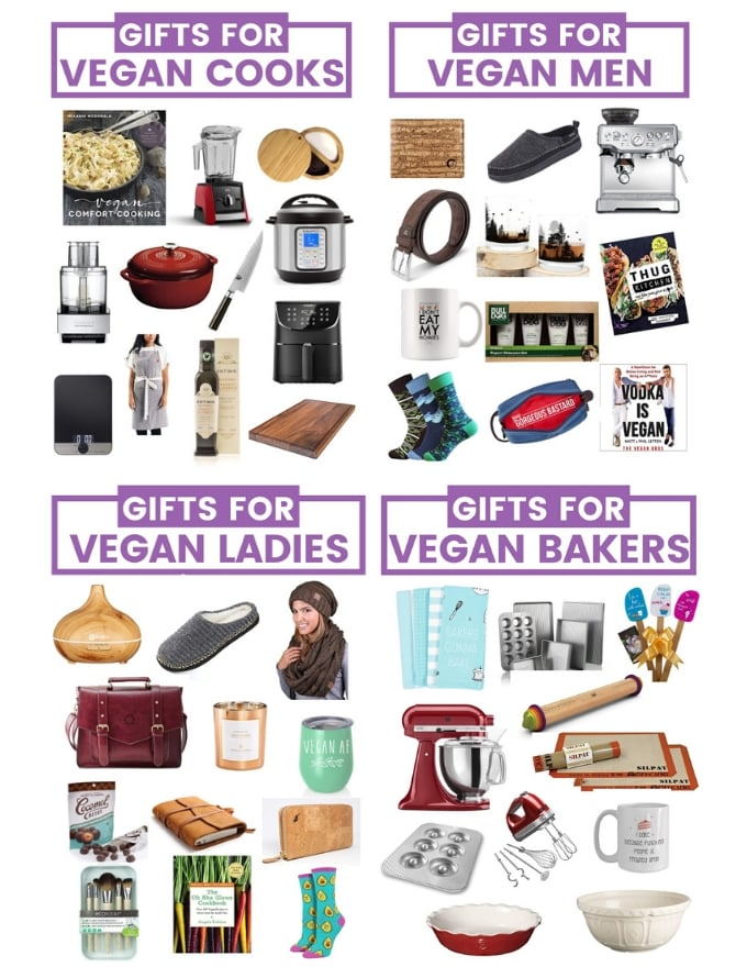 Struggling to choose gifts for vegans? Here is my gift guide for the vegan cook, vegan baker, vegan lady, vegan man and vegan pet lover.