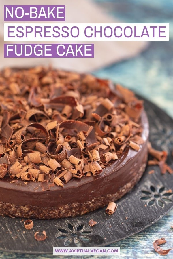 Simple to make with only 8 ingredients (plus salt), this No-Bake Espresso Chocolate Fudge Cake is here to rock your dessert world. It's intensely rich and fudgy chocolate perfection, that needs no baking and is gluten-free with a nut-free option too. #chocolatefudgecake #vegandessert #nobake #raw