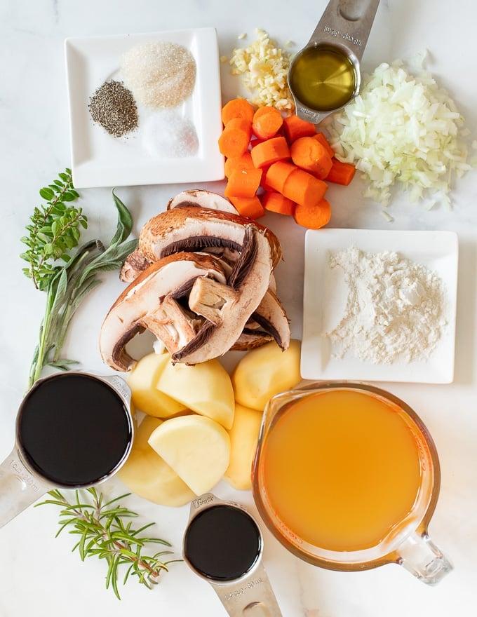 ingredients for Vegan Portobello Instant Pot Pot Roast