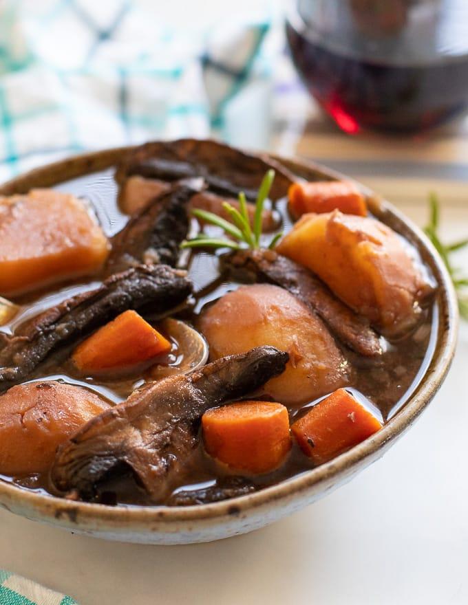close up shot of Vegan Portobello Instant Pot Pot Roast in a bowl