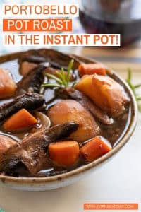 The ultimate one pot family meal – Vegan Portobello Instant Pot Pot Roast! We're talking meaty portobello mushrooms, meltingly tender vegetables and a thick, really rich and flavourful gravy. Plus as well as tasting amazing, it's super easy, quick and convenient with minimal washing up. A big YES PLEASE on all counts!