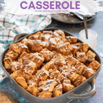 Make your brunch dreams come true with this Vegan French Toast Casserole. Cubes of crusty bread are drowned in cinnamon infused custard and baked until crispy & toasty on top & soft and custardy (but not soggy!) underneath. Then comes the drizzle of frosting which takes it over-the-top. It's perfect for feeding a crowd & can even be prepped the night before if you need to.