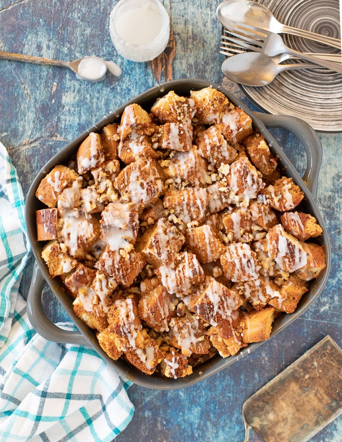 Vegan French Toast Casserole in a dish, taken form above