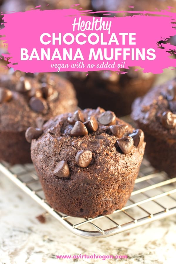 Super satisfying, insanely delicious, Healthy Chocolate Banana Muffins. Fluffy, perfectly sweet and moist, not dry and no mixer required! #veganmuffins #chocolatebananamuffins