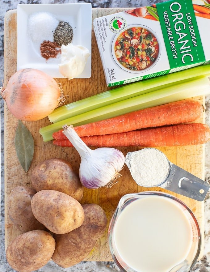 Vegan Potato Soup ingredients