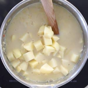 uncooked vegan potato soup in a pan