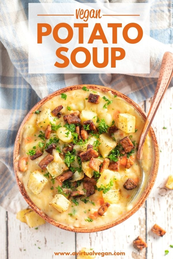 Thick, hearty and creamy Vegan Potato Soup. It's really simple to make and very budget friendly. You can enjoy it just as it is, or get crazy with toppings. I like to finish mine off with some crumbled tempeh bacon, crispy roasted potato chunks & a sprinkle of parsley for a pop of colour! #veganpotatosoup #potatosoup