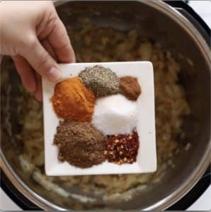 Step by step photos showing how to make Instant Pot Lentil Dal