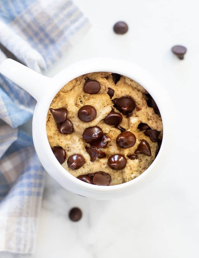 chocolate chip cookie in a mug from above