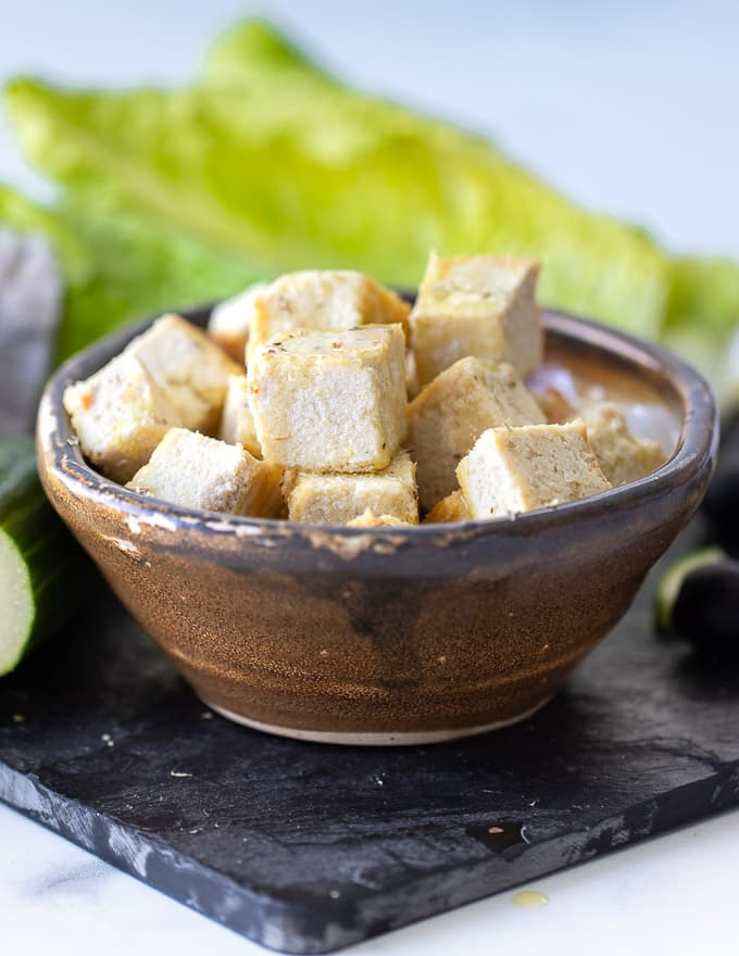 vegan feta cheese cubes in a bowl
