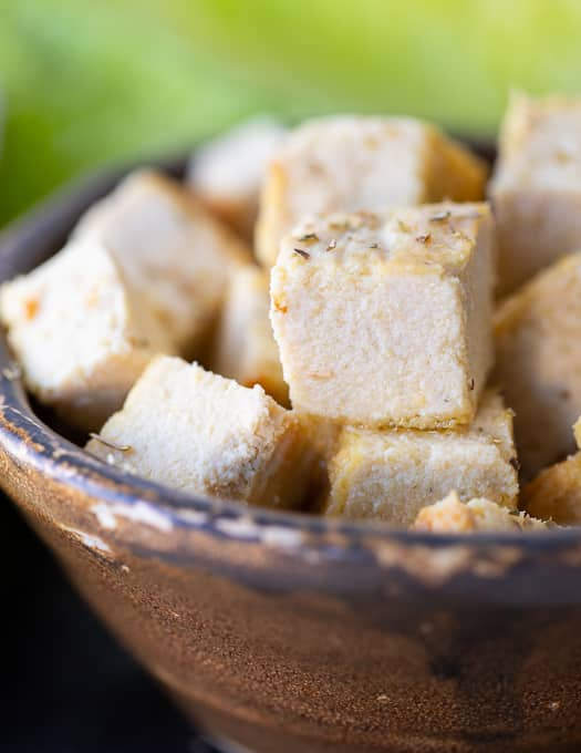 cubes of vegan feta cheese