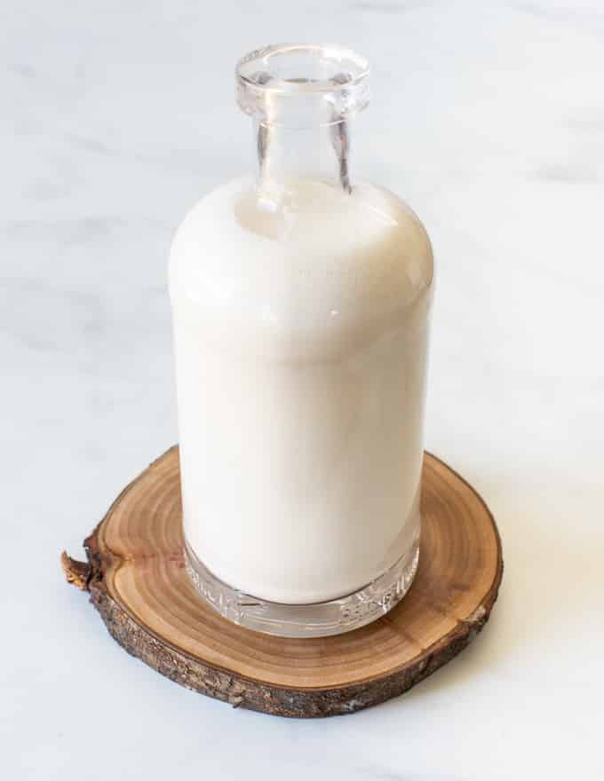 a full bottle of homemade milk