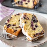 Lemon BLueberry Loaf slices on a plate